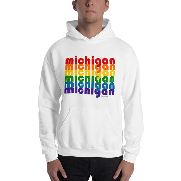 Michigan Pride Rainbow Comfy Hoodie - Hooded Sweatshirt by Pridethings™