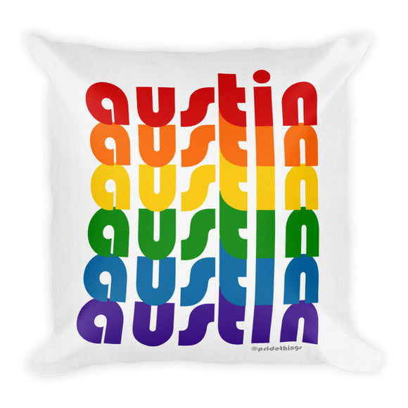 Austin Pride Rainbow Throw Pillows by Pridethings™ ~ Square or Rectangular
