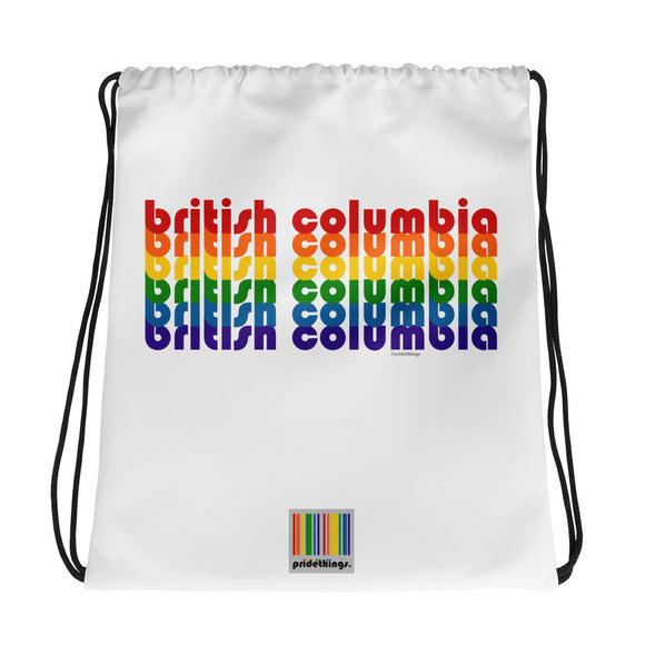 British Columbia Pride Rainbow Drawstring Bag by Pridethings™