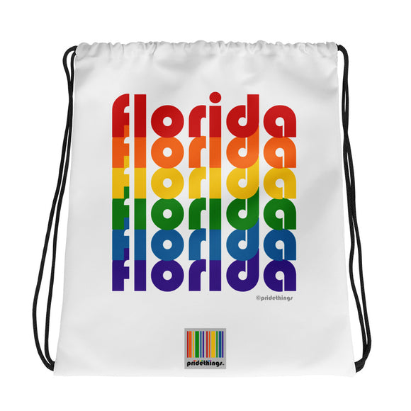 Florida Pride Rainbow Drawstring Bag by Pridethings™