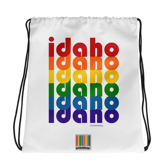 Idaho Pride Rainbow Drawstring Bag by Pridethings™