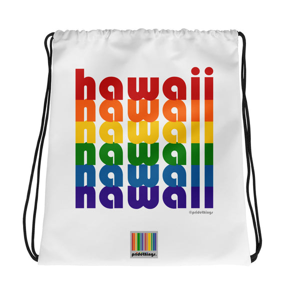 Hawaii Pride Rainbow Drawstring Bag by Pridethings™