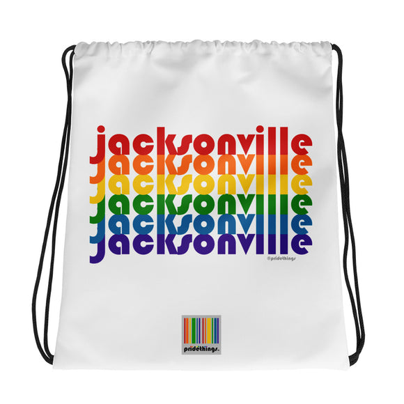 Jacksonville Pride Rainbow Drawstring Bag by Pridethings™
