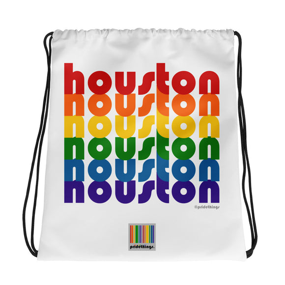 Houston Pride Rainbow Drawstring Bag by Pridethings™