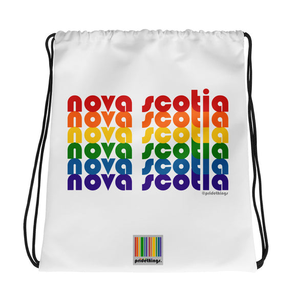 Nova Scotia Pride Rainbow Drawstring Bag by Pridethings™