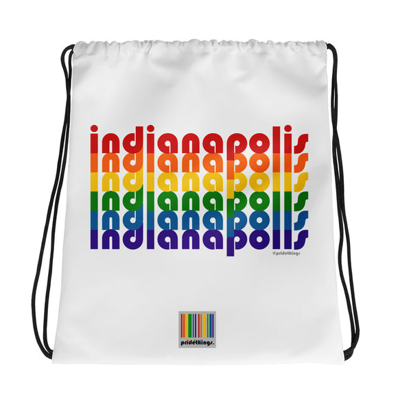 Indianapolis Pride Rainbow Drawstring Bag by Pridethings™