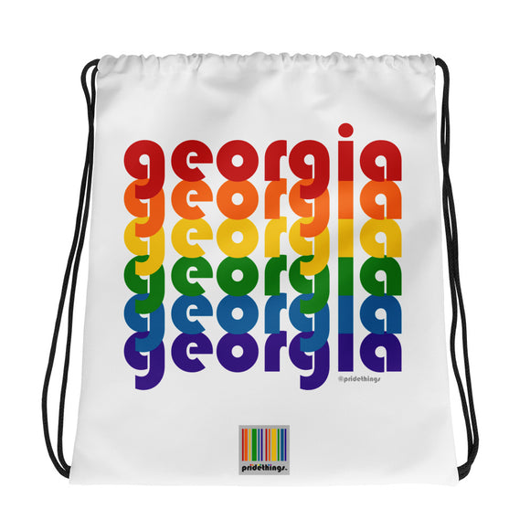 Georgia Pride Rainbow Drawstring Bag by Pridethings™