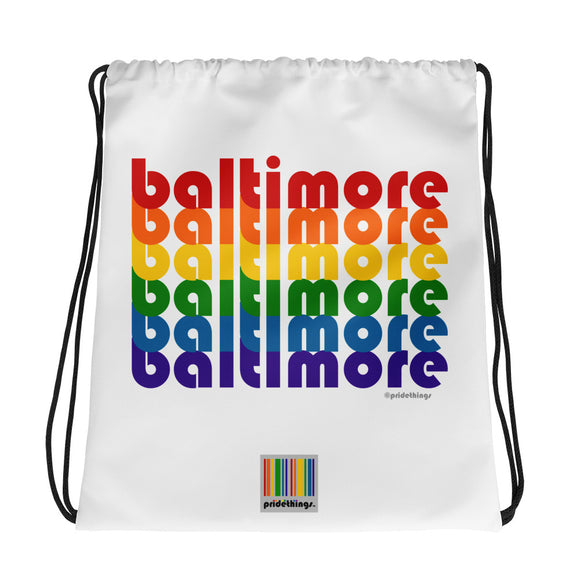 Baltimore Pride Rainbow Drawstring Bag by Pridethings™