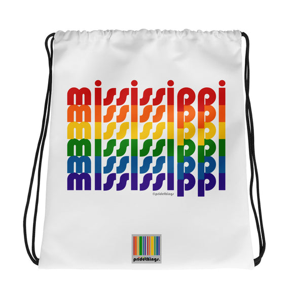 Mississippi Pride Rainbow Drawstring Bag by Pridethings™