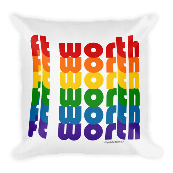 Ft Worth Pride Rainbow Throw Pillows by Pridethings™ ~ Square or Rectangular