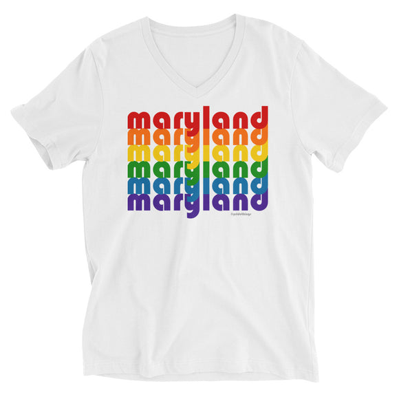 Maryland Pride Rainbow Unisex Short Sleeve V-Neck T-Shirt by Pridethings™