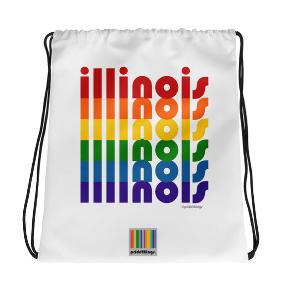 Illinois Pride Rainbow Drawstring Bag by Pridethings™