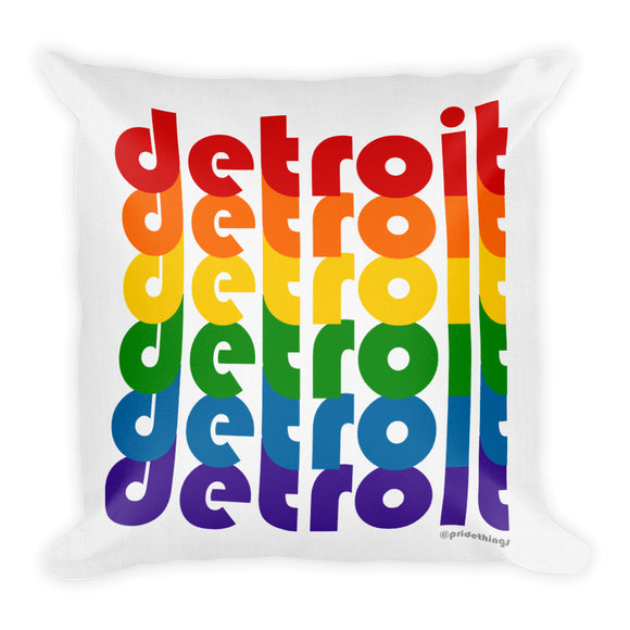Detroit Pride Rainbow Throw Pillows by Pridethings™ ~ Square or Rectangular