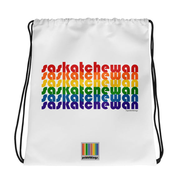 Saskatchewan Pride Rainbow Drawstring Bag by Pridethings™