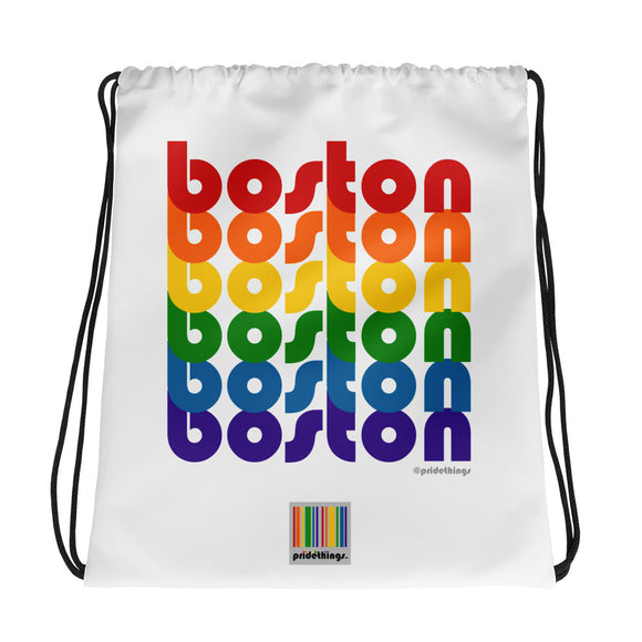 Boston Pride Rainbow Drawstring Bag by Pridethings™