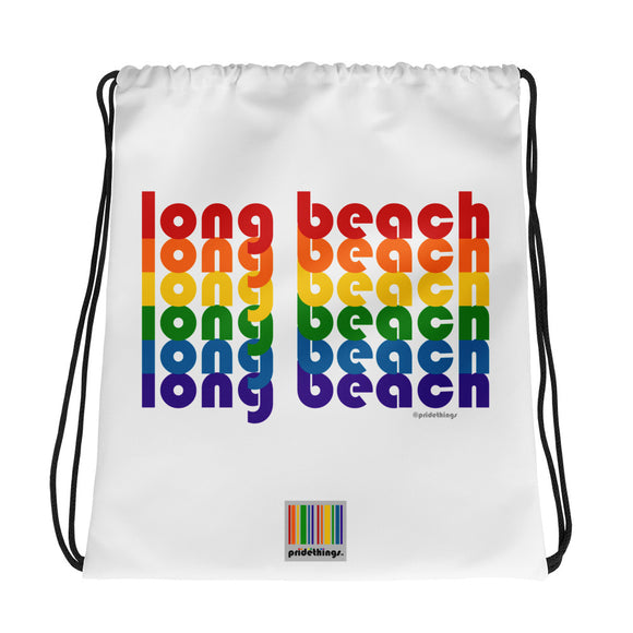 Long Beach Pride Rainbow Drawstring Bag by Pridethings™