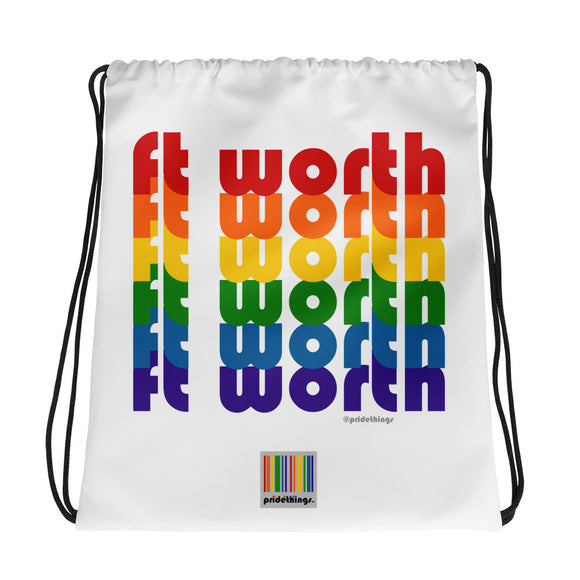 Ft Worth Pride Rainbow Drawstring Bag by Pridethings™