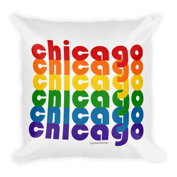 Chicago Pride Rainbow Throw Pillows by Pridethings™ ~ Square or Rectangular