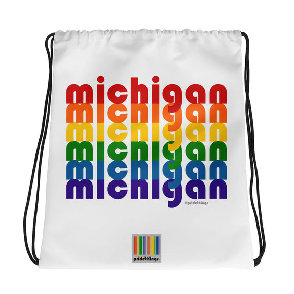 Michigan Pride Rainbow Drawstring Bag by Pridethings™