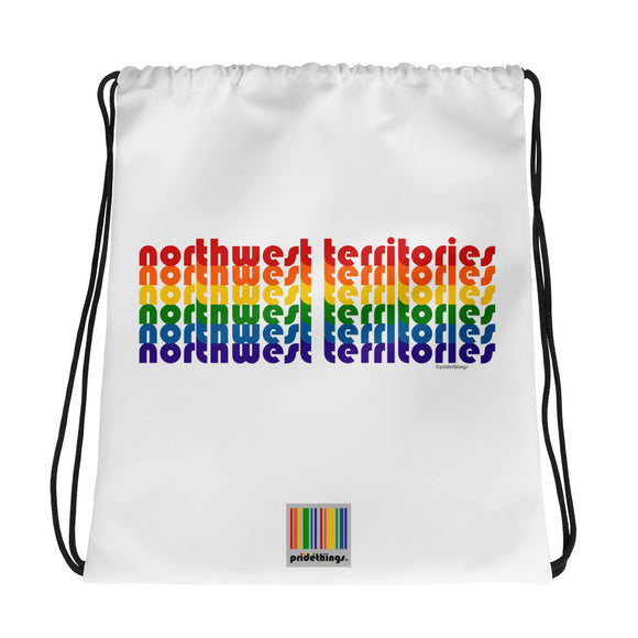 Northwest Territories Pride Rainbow Drawstring Bag by Pridethings™