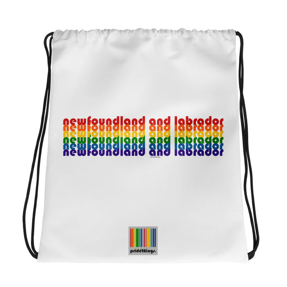 Newfoundland and Labrador Pride Rainbow Drawstring Bag by Pridethings™