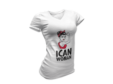 "Load image into Gallery viewer, ICAN Woman ""Can Do"" V-Neck T-Shirt"