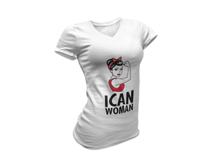 "ICAN Woman ""Can Do"" V-Neck T-Shirt"