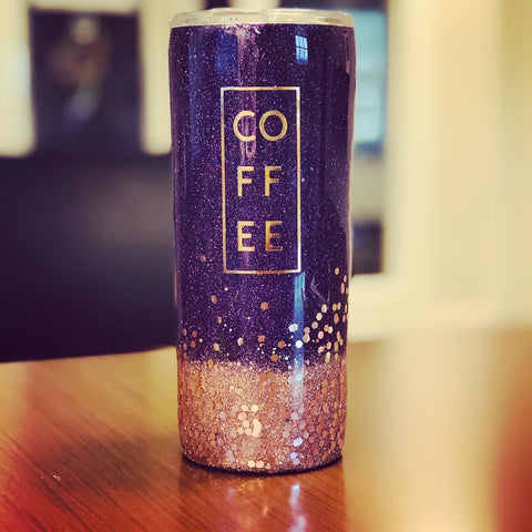 Purple and Rose Gold Coffee Tumbler