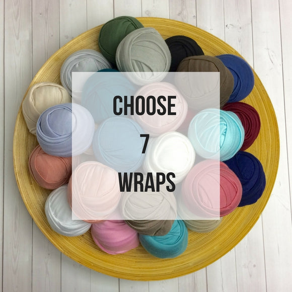 YOU PICK 7 Wraps - Newborn Stretch Jersey Wraps Bundle