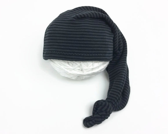 Black & Grey Striped Newborn Sleepy Hat