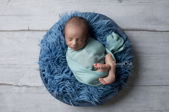 Light Blue Textured Knit Newborn Wrap