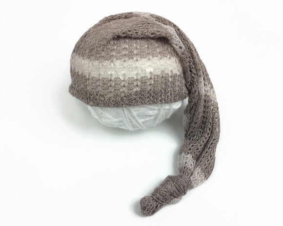 Brown Lacey Striped Newborn Sleepy Hat