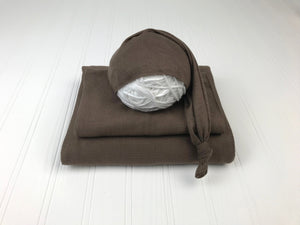 Chocolate Brown Jersey Newborn Posing Fabric with Optional Wrap