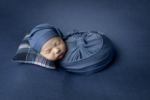 Denim Blue Jersey Newborn Posing Fabric with Optional Wrap