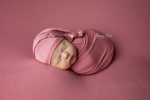 Dusty Rose Pink Jersey Newborn Posing Fabric with Optional Wrap