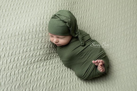 Fern Green Newborn Stretch Wrap and Optional Sleepy Hat
