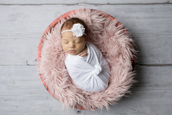 White Newborn Stretch Wrap with Tieback or Hat