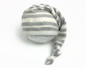 Cream Grey Striped Newborn Sleepy Hat