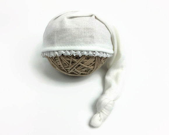 Ivory Newborn Sleepy Hat with Lace Edging