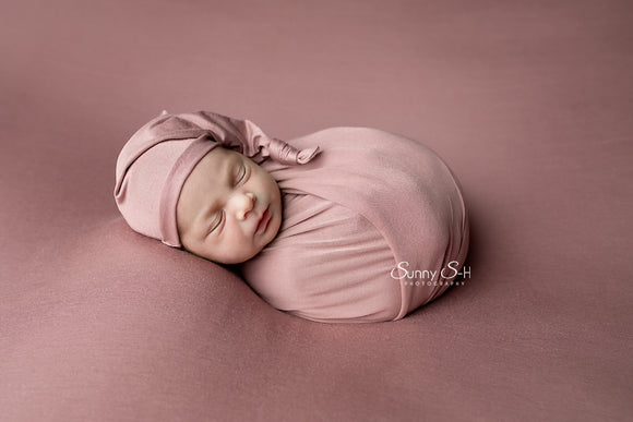 Mauve Pink Jersey Newborn Posing Fabric with Optional Wrap