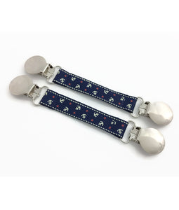 Navy Anchors Mitten Clips
