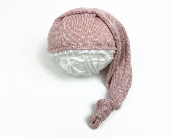 Pink Newborn Sleepy Hat with Lace Edging