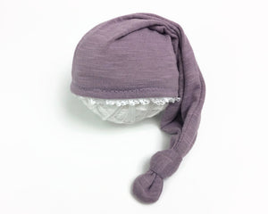 Purple Newborn Sleepy Hat with Lace Edging