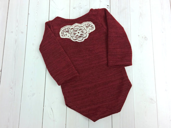 Red Newborn Girl Romper Sleeves Lace Accent