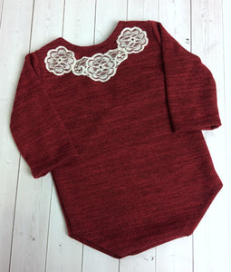 Red Long Sleeve Sitter Romper Lace