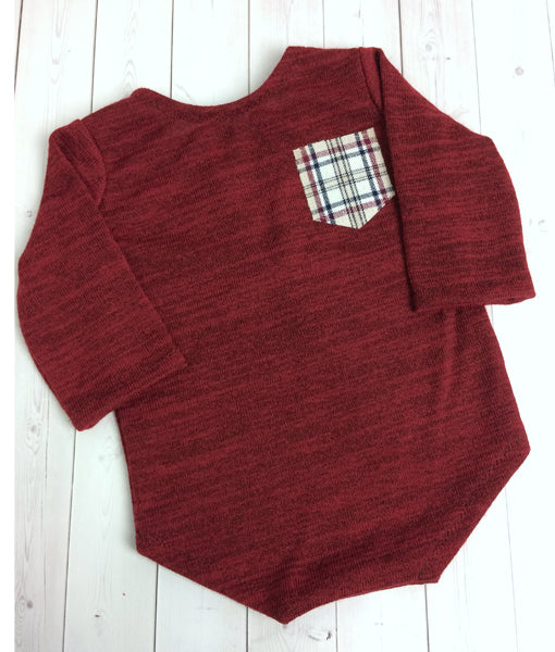 Red Long Sleeve Sitter Romper Plaid Pocket