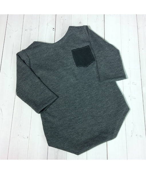 Charcoal Grey Sleeved Sitter Romper with Chest Pocket