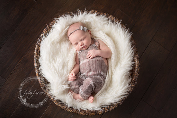 Taupe & White Stripe Newborn Romper Headband