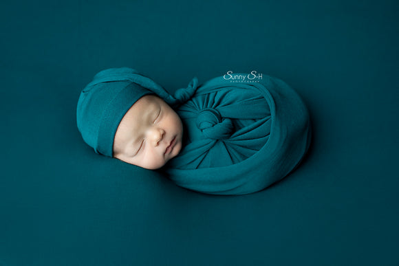 Teal Jersey Newborn Posing Fabric with Optional Wrap