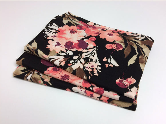 Black & Coral Pink Floral Newborn Stretch Jersey Wrap
